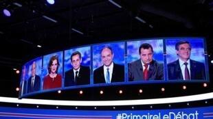 Les sept candidats à la primaire de la droite sur le plateau du débat, le 13 octobre 2016.