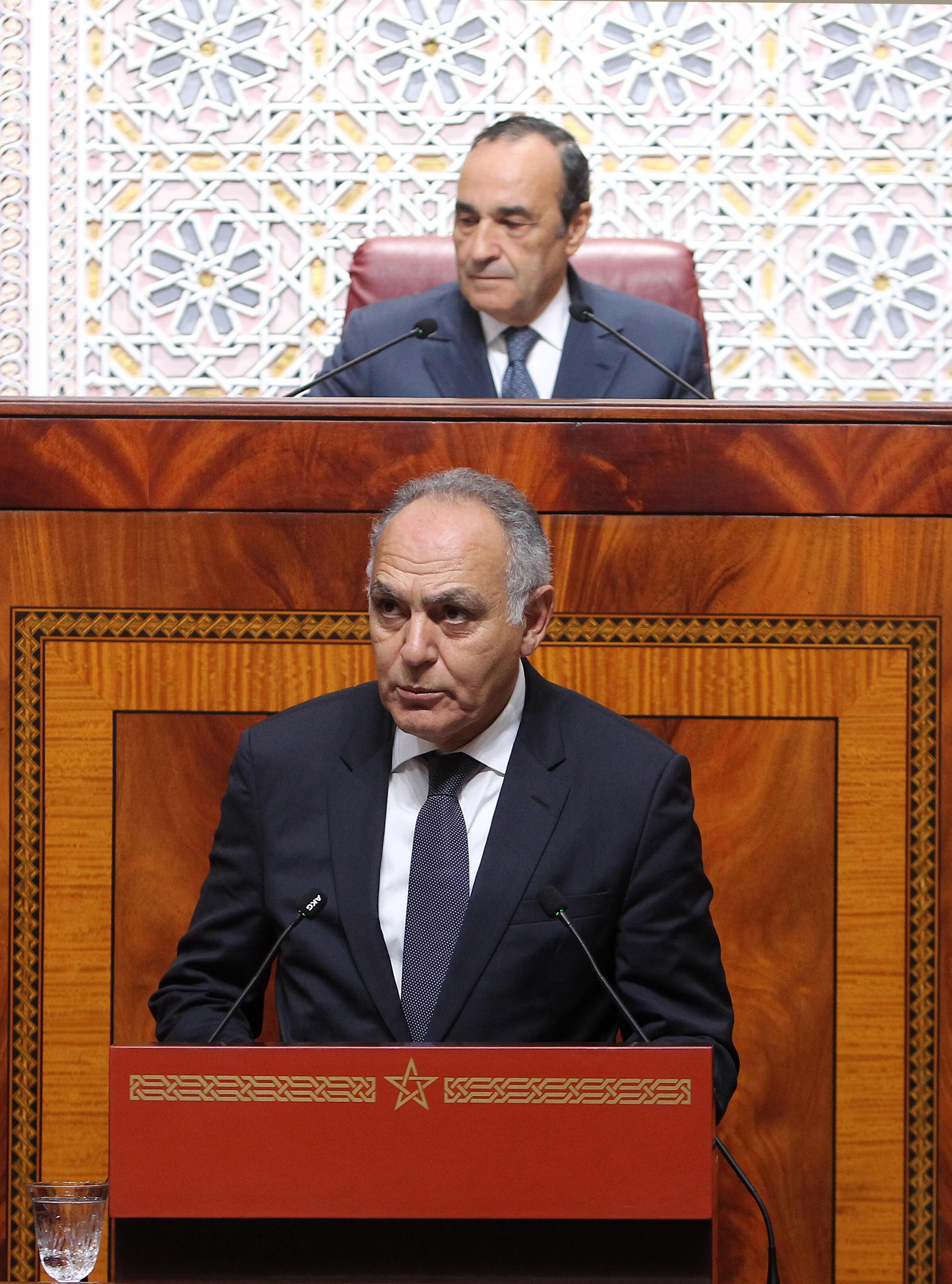 Salaheddine Mezouar, ministre marocain des Affaires étrangères, lors du premier tour du vote de l'Union africaine à propos de la réintégration du Maroc dans l'institution.