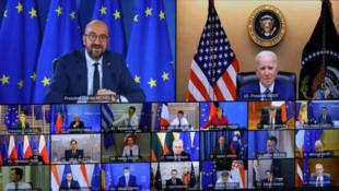 美国总统拜登参加欧洲理事会会议资料图片