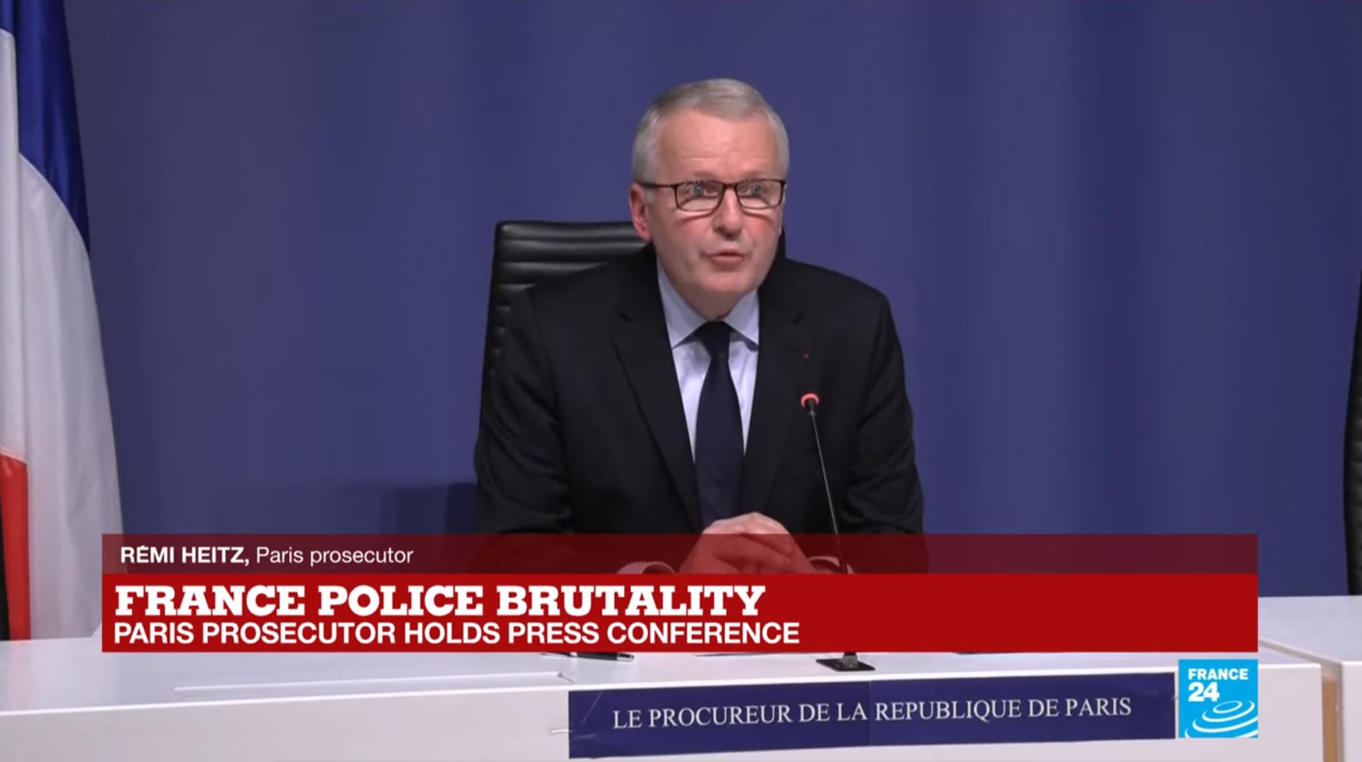 Прокурор Парижа Реми Эйц во время пресс-конференции, посвщяенной делу Мишеля Зеклера