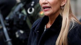Jeanine Anez, lors d'un discours donné devant le palais présidentiel, le 13 novembre 2019 à La Paz.