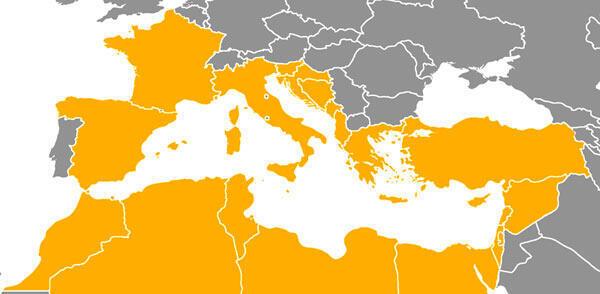 Pays méditerranéens concernés par la convention de Barcelone