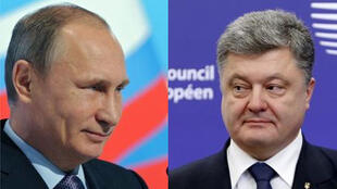 Vladimir Putin (à esquerda) e Petro Poroshenko (à direita) trocam acusaçoes sobre a Criméia.