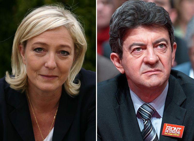 Marine Le Pen e Jean-Luc Mélenchon.