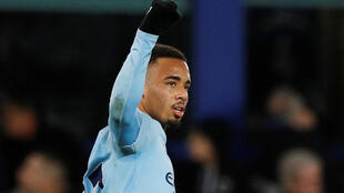 Gabriel Jesus scored Manchester City's second goal at Everton.