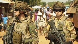 French soldiers patrol on Boy-Rabe, a northern district of Bangui, 17 December, 2013