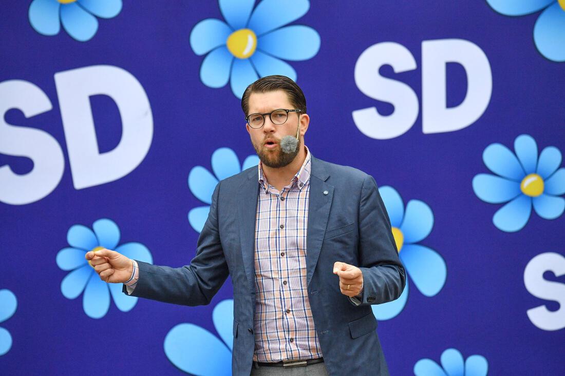 Jimmie Åkesson en campagne pour ces législatives à Landskrona en Suède.