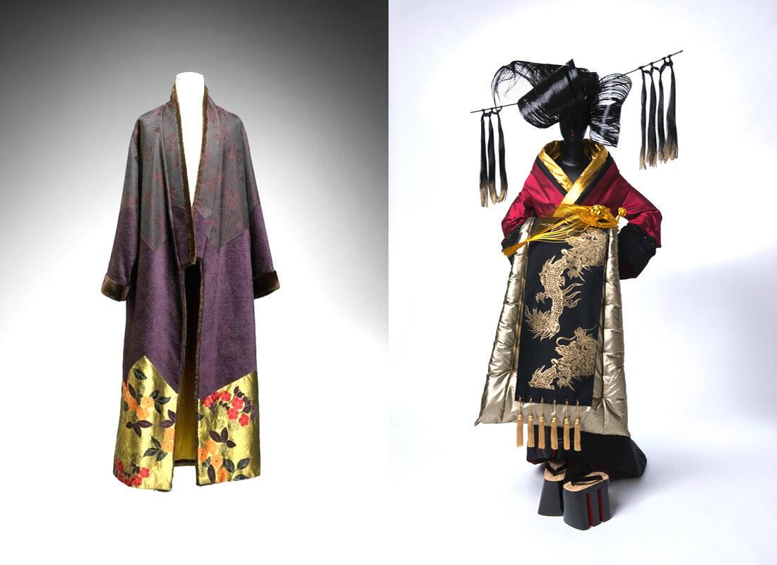 Kimono, đính len và lông thú, 2006 Kenzo Takada (P)/ Kimono, Oiran Collection, kết hợp với lụa và polyester, 2009 Junko Koshino
