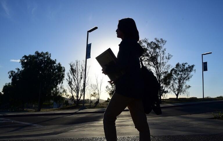 Một sinh viên Trung Quốc tại khu đại học Linfield Christian School, Temecula, California, Hoa Kỳ, ngày 23/03/2016.