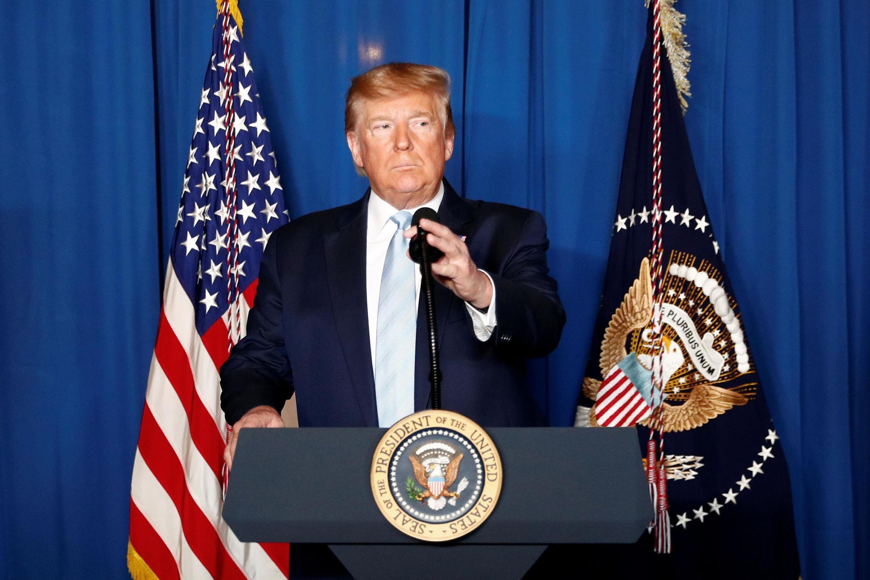 Tổng thống Mỹ Donald Trump phát biểu sau vụ tấn công nhắm vào đoàn xe của tướng Iran Qassem Soleimani ở Bagdad, Irak, tại West Palm Beach, bang Floride, Hoa Kỳ, ngày 03/01/2020.