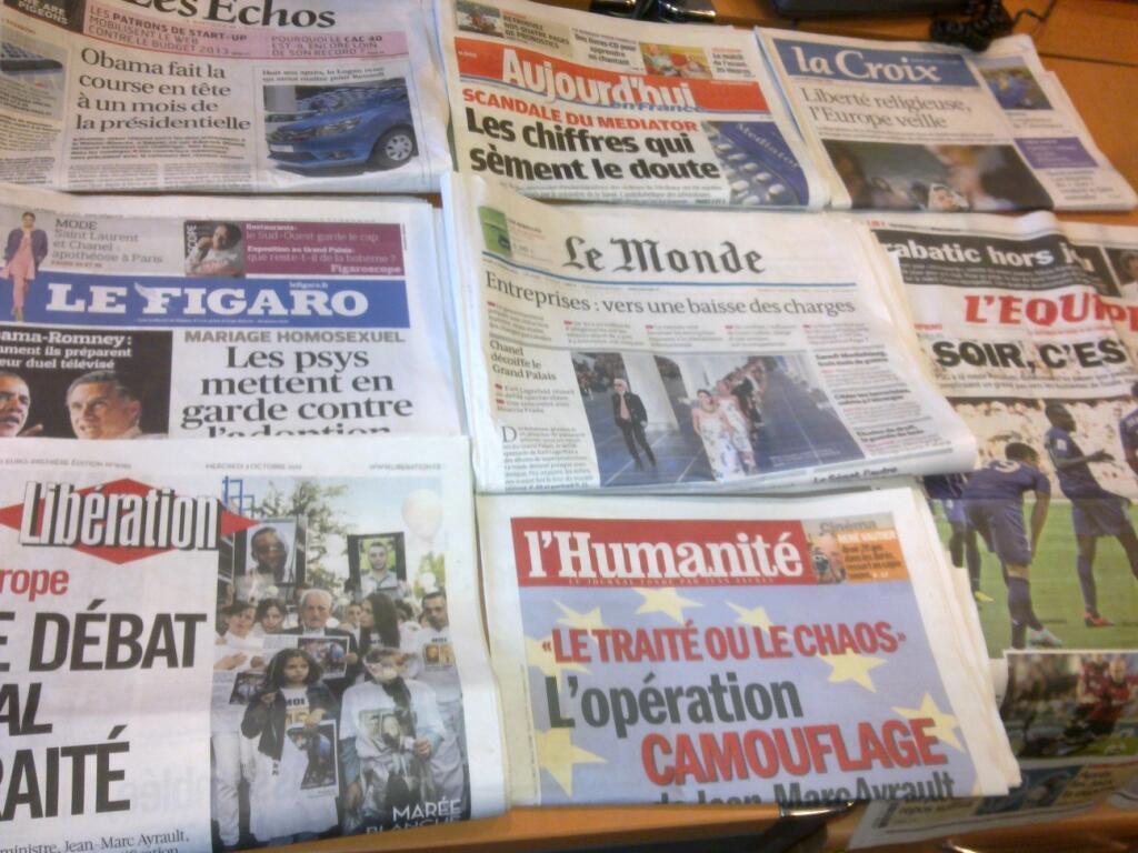 Diários franceses   03/10/2012