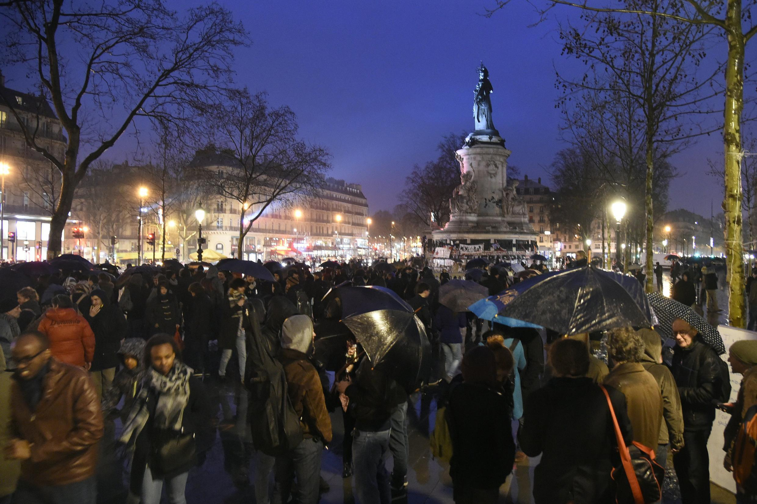 """Hundreds of people gathered at the Place de la République in Paris during """"Up All Night"""" protests on 2 April 2016"""