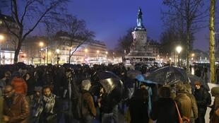 "Hundreds of people gathered at the Place de la République in Paris during ""Up All Night"" protests on 2 April 2016"