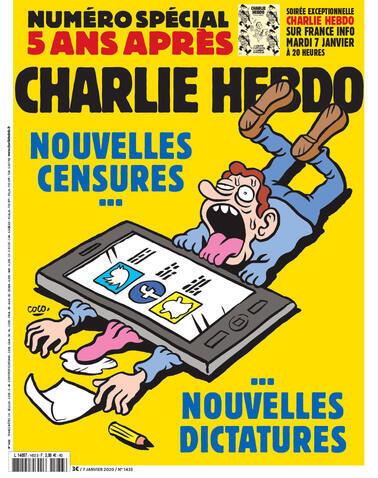 La couverture (détail) du numéro anniversaire de Charlie Hebdo, cinq ans après l'attaque terroriste du 7 janvier 2015 contre le journal satirique.