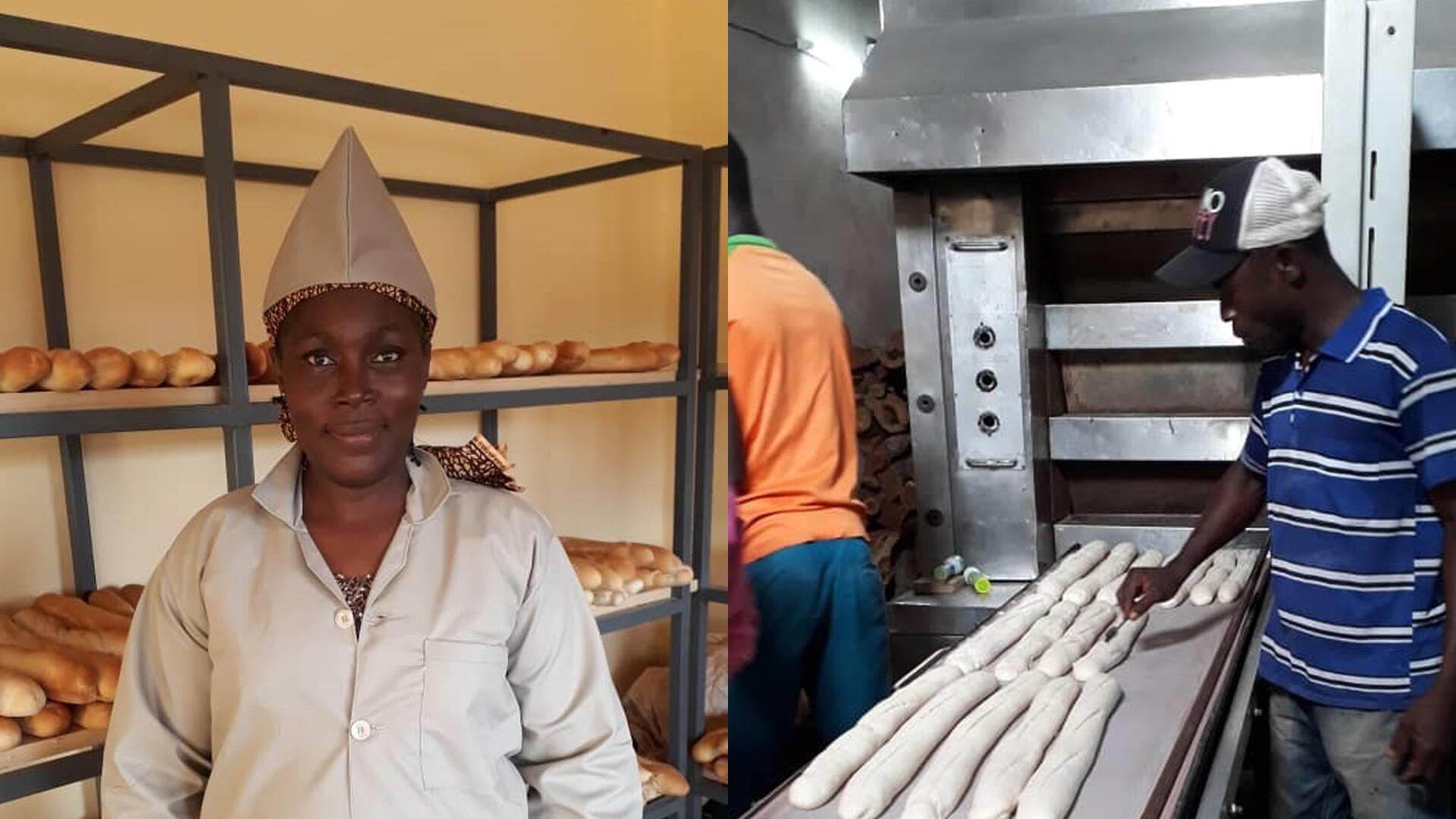 Une boulangerie au Burkina Faso. À gauche: Rasmata Kondombo, la propriétaire.