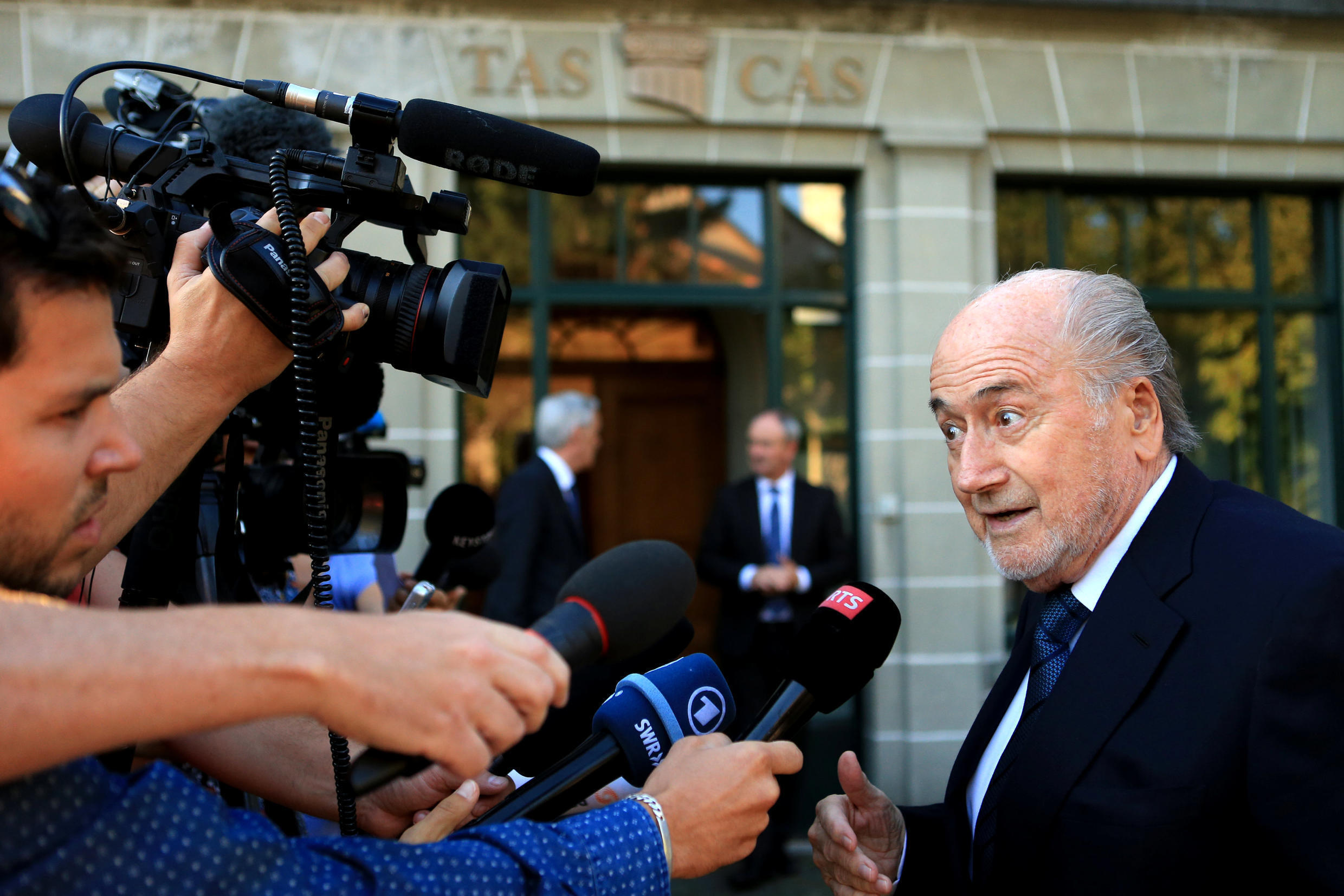 Sepp Blatter arrives at the Court of Arbitration for Sport (CAS) in Lausanne, Switzerland