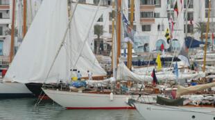 Les yachts classiques dans la Marina d'Agadir, au Maroc.