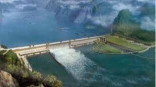 Une maquette du futur grand barrage de la Renaissance en Ethiopie.