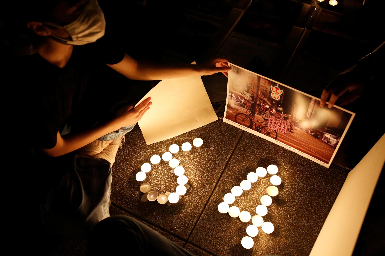 Người dân Đài Loan tập trung tại quảng trường Tự Do ở Đài Bắc để tưởng niệm 31 năm vụ Thiên An Môn, ngày 04/06/2020.