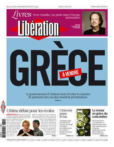 Capa do jornal francês Libération destaca a crise na Grécia