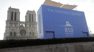 A 13-metre-high viewing platform for viewing the Notre Dame facade erected for the anniversary