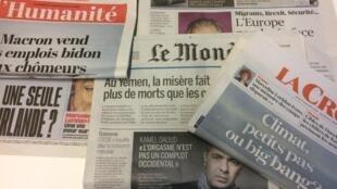 Primeiras páginas dos jornais franceses de 20 de setembro de 2018