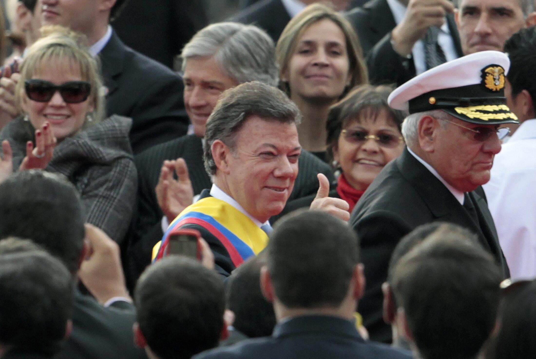 Santos, instantes después de jurar como nuevo presidente de Colombia este sábado en Bogotá.