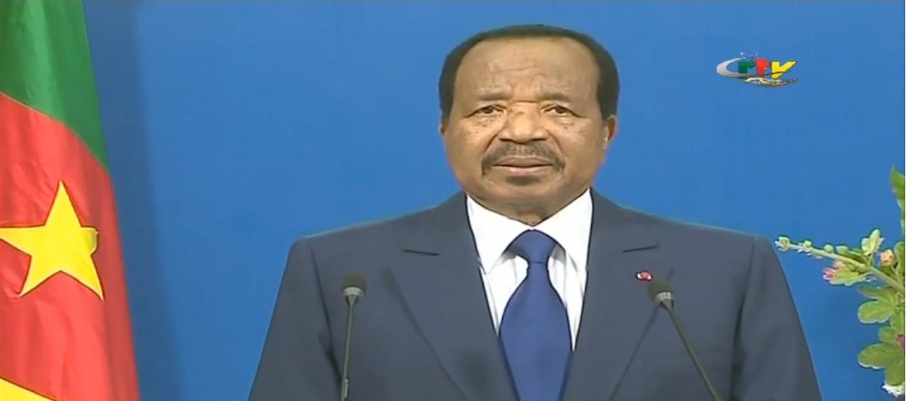 Le président camerounais Paul Biya lors de ses voeux à la nation, le 31 décembre 2018.