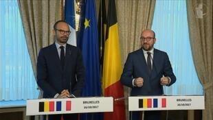 شارل میشل و ادوارد فیلیپ نخست وزیران بلژیک و فرانسه