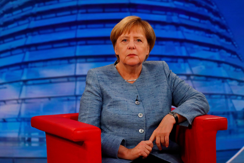La chancellière allemande Angela Merkel sur la chaîne de télévision publique ARD pour sa traditionnelle interview d'été, le 26 août 2018.