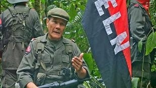 """El Comandante Nicolás Rodríguez (""""Gabino"""", el jefe  del ELN). Imagen de un video difundido el 23 de mayo de 2015."""