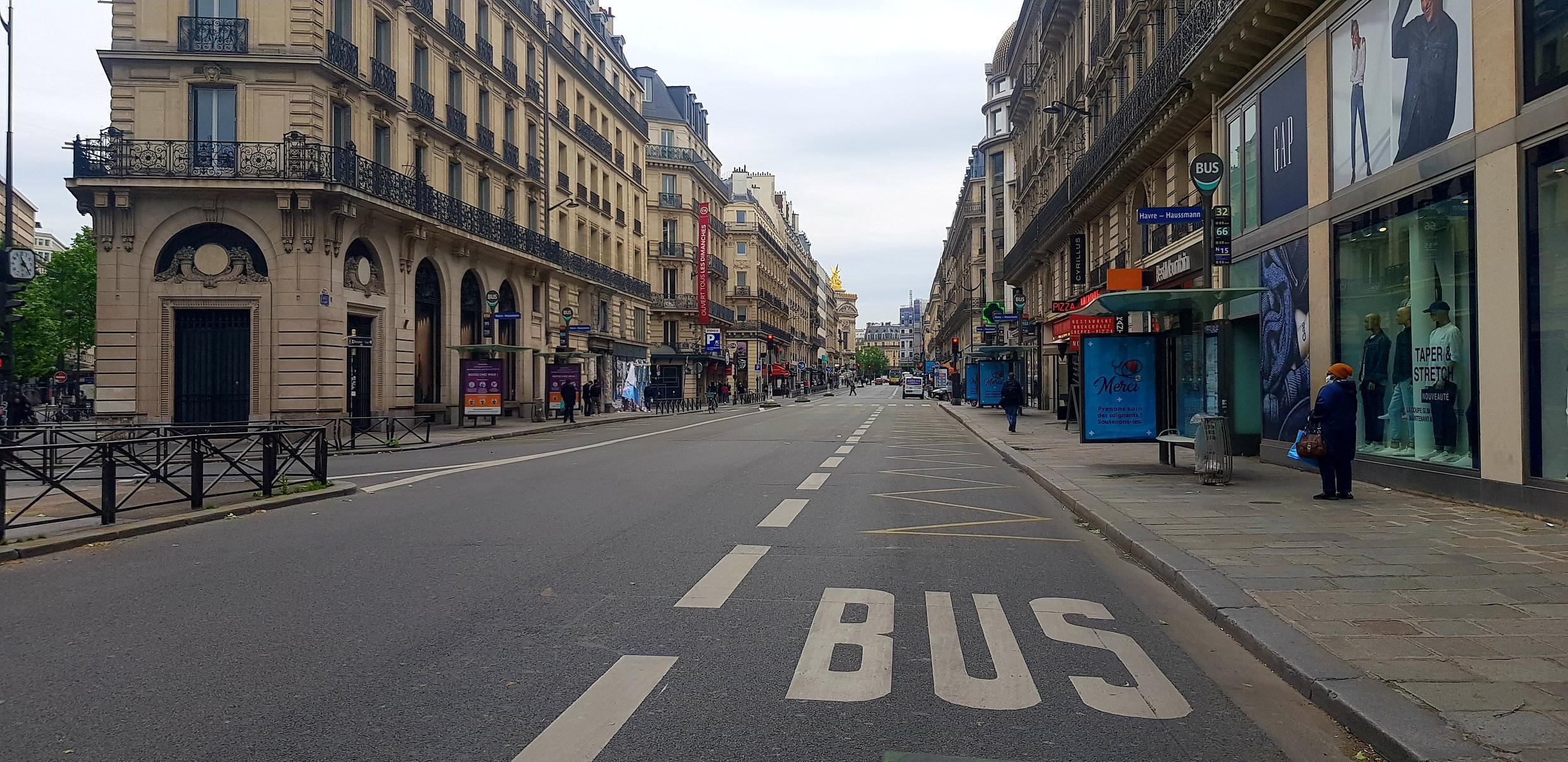 An empty rue Auber without its usual cohorts of buses, cars, motorcycles, tourist coaches despite easing of lockdown restrictions on 11 May 2020.