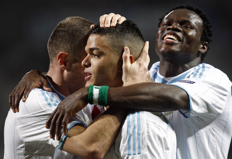 Ben Arfa est félicité par Cheyrou et Taiwo après son ouverture du score contre Copenhague