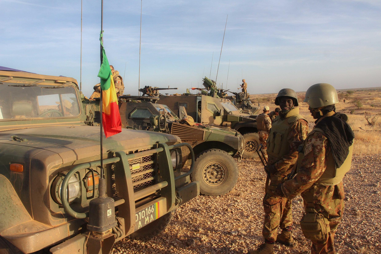 Militaires de la force conjointe du G5 Sahel, dans la région d'In Tillit, au Mali, lors de leur premier déploiement, début novembre 2017. A Washington, les Africains ont insisté sur la question du Sahel.