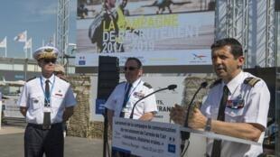 Le colonel Hervé Chêne, chef du bureau recrutement, s'exprime lors du lancement de la campagne 2017-2019.