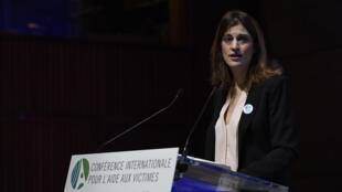 La secrétaire d'Etat pour l'Aide aux victimes Juliette Méadel lors de la conférence internationale pour l'aide aux victimes à l'Unesco à Paris, le 9 janvier 2016.