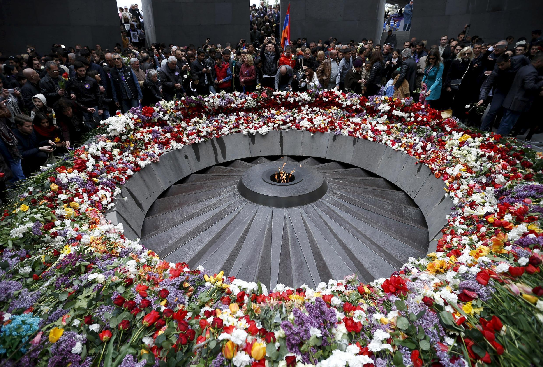 Armenia's memorial commemorating the victims of the genocide, in Yerevan 24 April 2015