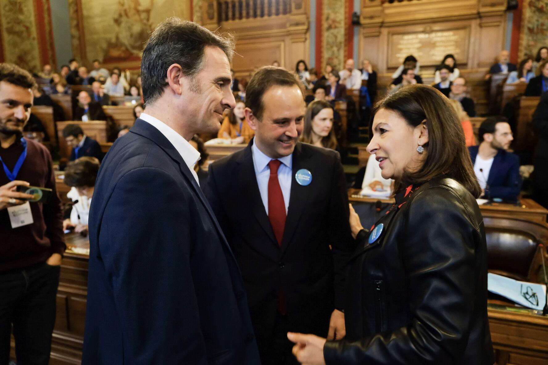 Presidente da Câmara de Lisboa, Fernando Medina, e a Presidente da Câmara Municipal de Paris, Anne Hidalgo