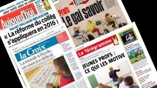 Capa dos jornais franceses Libération, Aujourd'hui en France, La Croix e Le Télégramme desta segunda-feira, 31 de agosto de 2015.