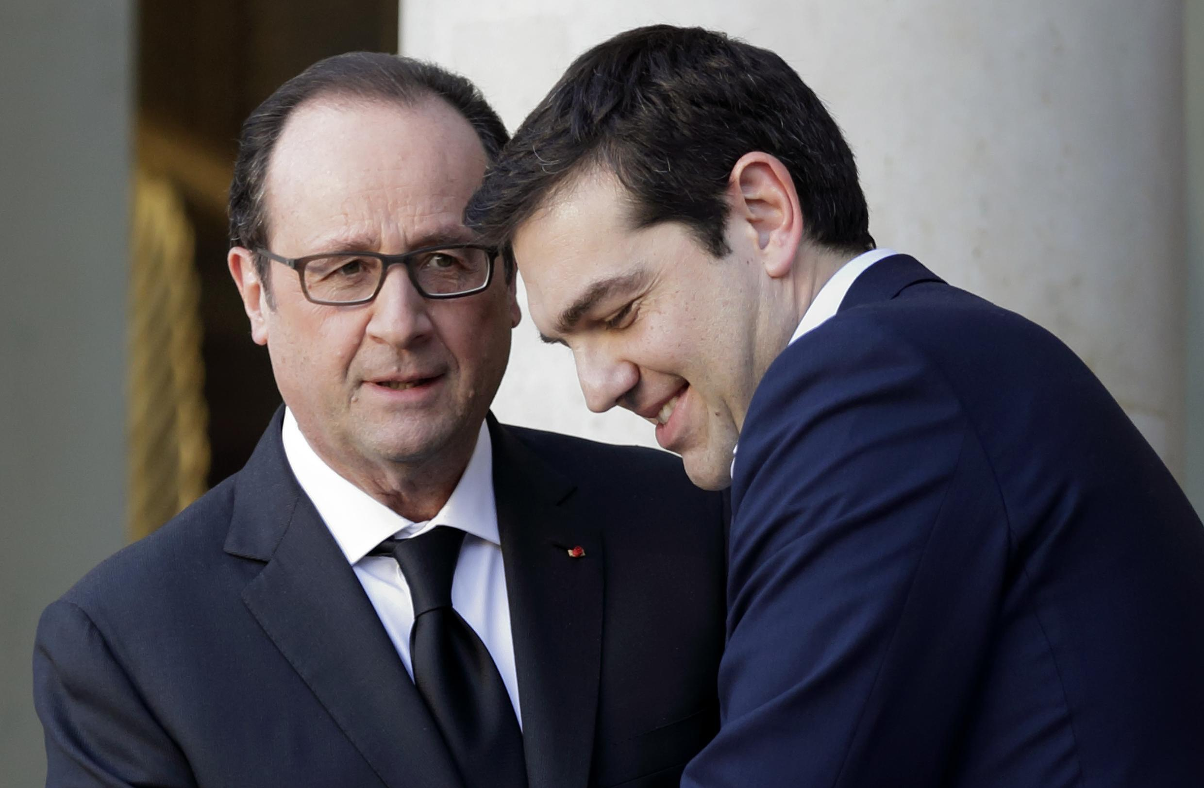 French President François Hollande with Greek Prime Minister Alexis Tsipras