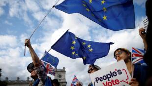 Manifestants anti-Brexit devant les chambres du Parlement à Londres, en Grande-Bretagne, le 4 septembre 2019.