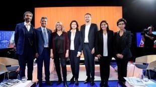 Les sept participants au débat du mercredi 5 mars organisé par la chaîne LCI.