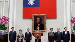 台湾总统蔡英文就萨尔瓦多断交举行记者说明会。2018年8月21日。