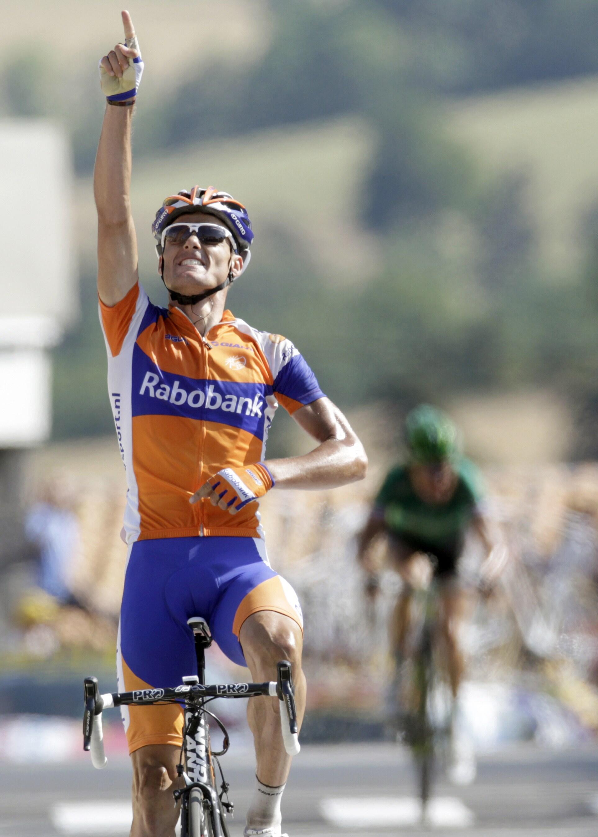Luis Léon Sanchez a remporté la 9e étape entre Issoire et Saint-Flour, le 10 juillet 2011.