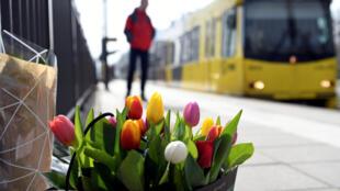 Flores depositadas no local do atentado, em 19 de março, em Utrecht, na Holanda.