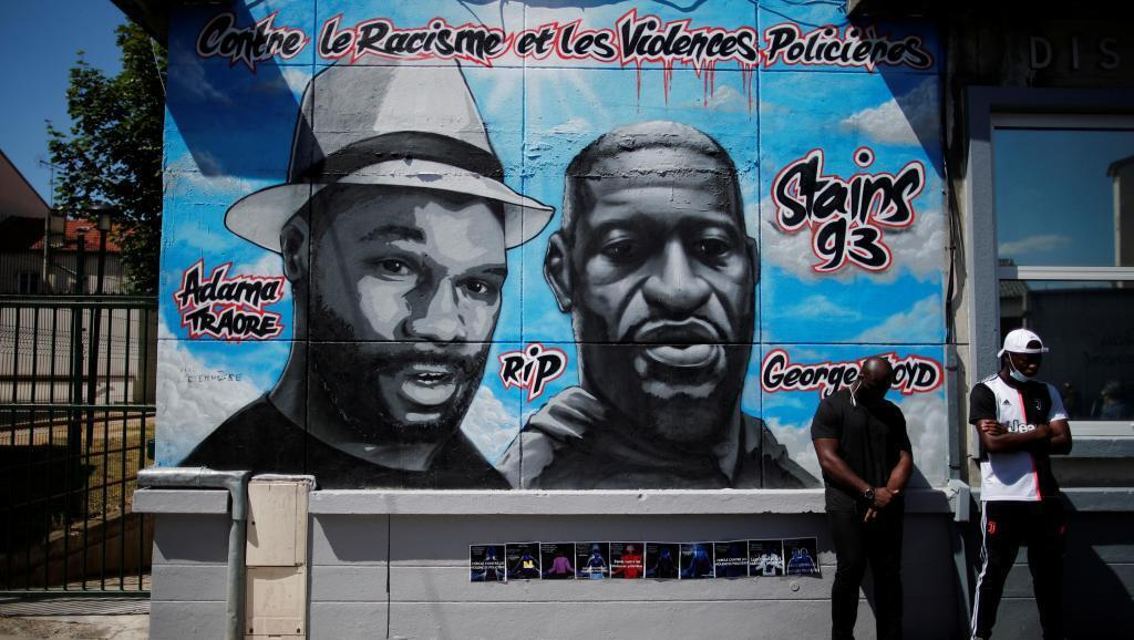 A mural in tribute to George Floyd and Adama Traoré before it was vandalized, in Stains, in the Paris suburbs, on June 22, 2020.