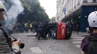 Makabiliano wakati wa maandamano, Paris Juni 16, 2020.