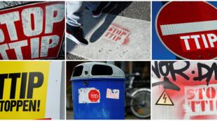 德国人反对TTIP的各种张贴