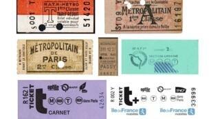 Petit échantillon de tickets de métro parisien, coll. Grégoire Thonnat.