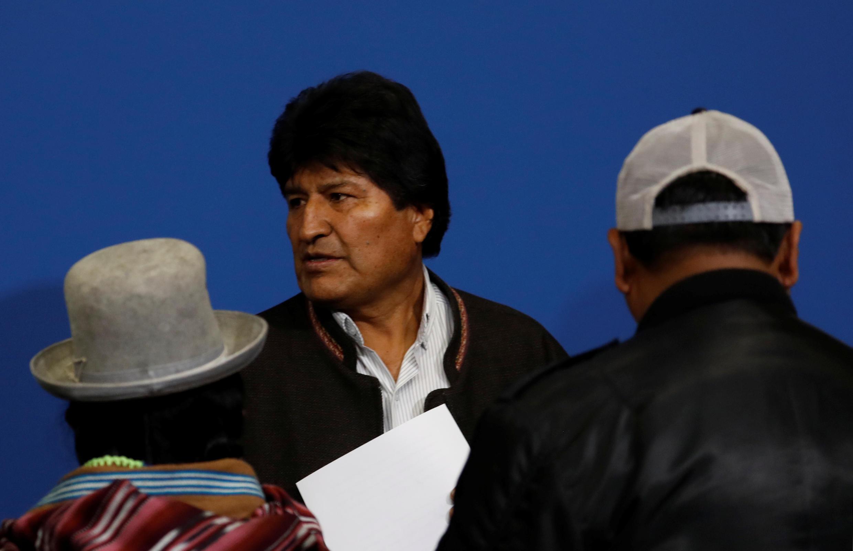 Le président bolivien Evo Morales après l'annonce de sa démission le 10 novembre 2019.